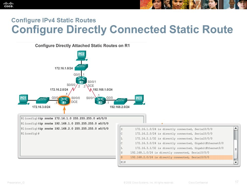 Configure IPv4 Static Routes Configure Directly Connected Static Route