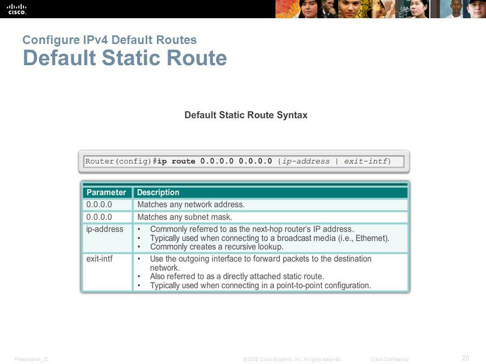 Configure IPv4 Default Routes Default Static Route