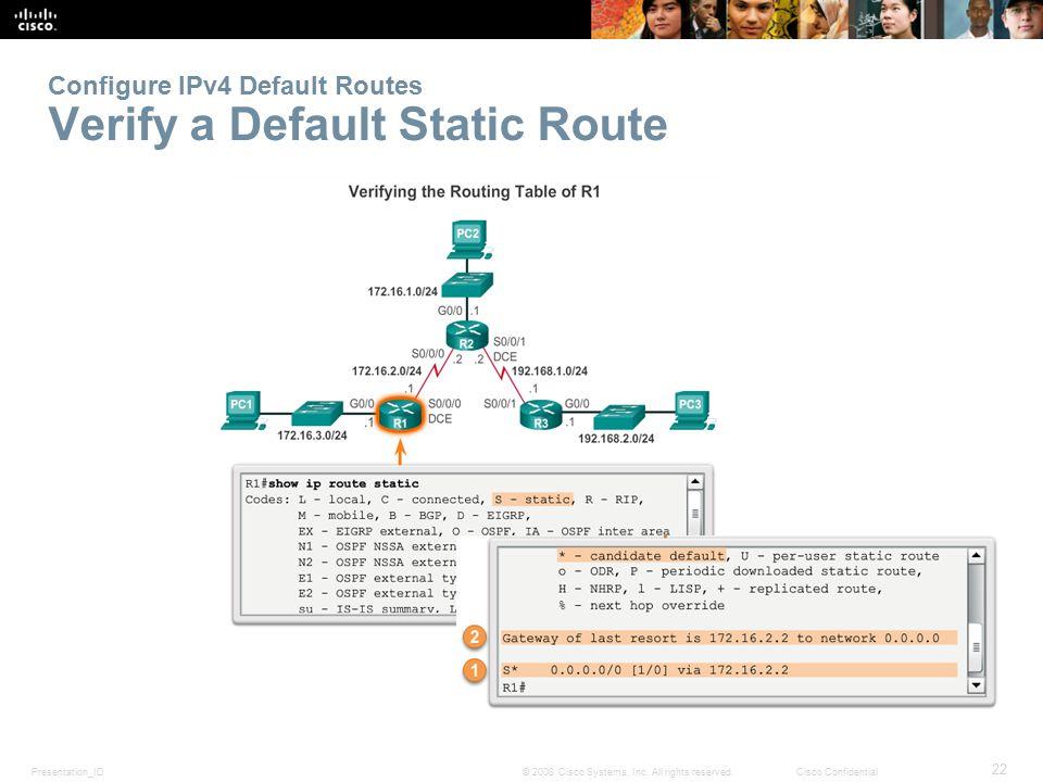 Configure IPv4 Default Routes Verify a Default Static Route