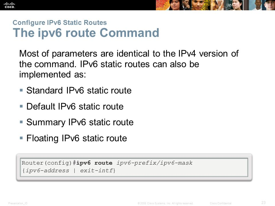 Configure IPv6 Static Routes The ipv6 route Command