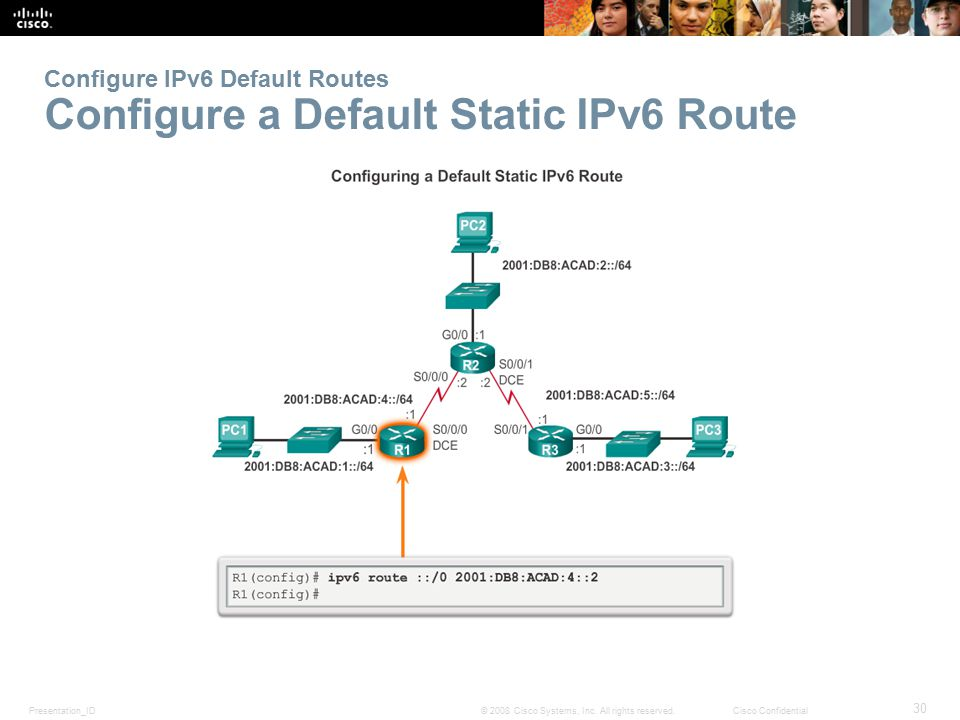 Configure IPv6 Default Routes Configure a Default Static IPv6 Route