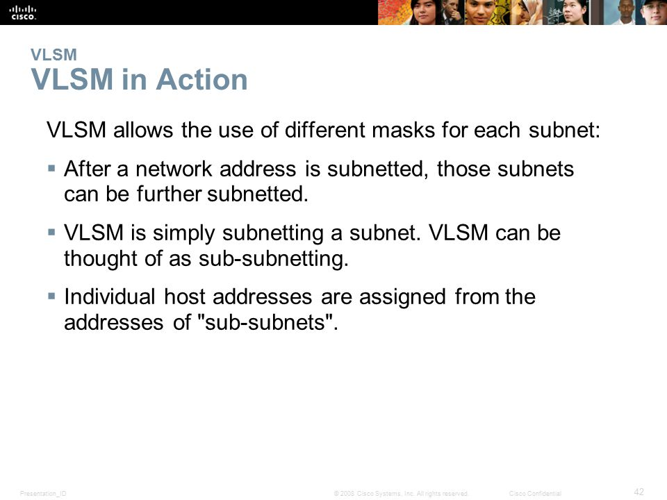 VLSM allows the use of different masks for each subnet: