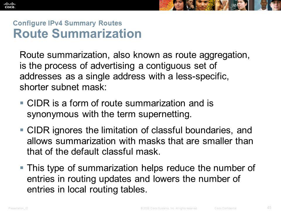 Configure IPv4 Summary Routes Route Summarization