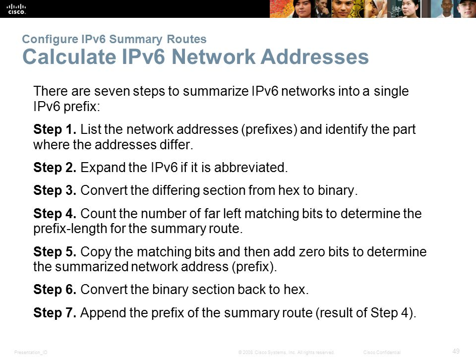Configure IPv6 Summary Routes Calculate IPv6 Network Addresses