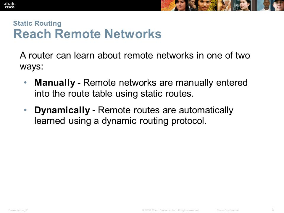 Static Routing Reach Remote Networks