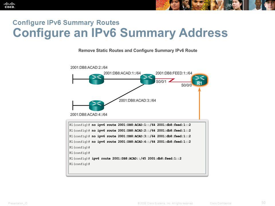 Configure IPv6 Summary Routes Configure an IPv6 Summary Address