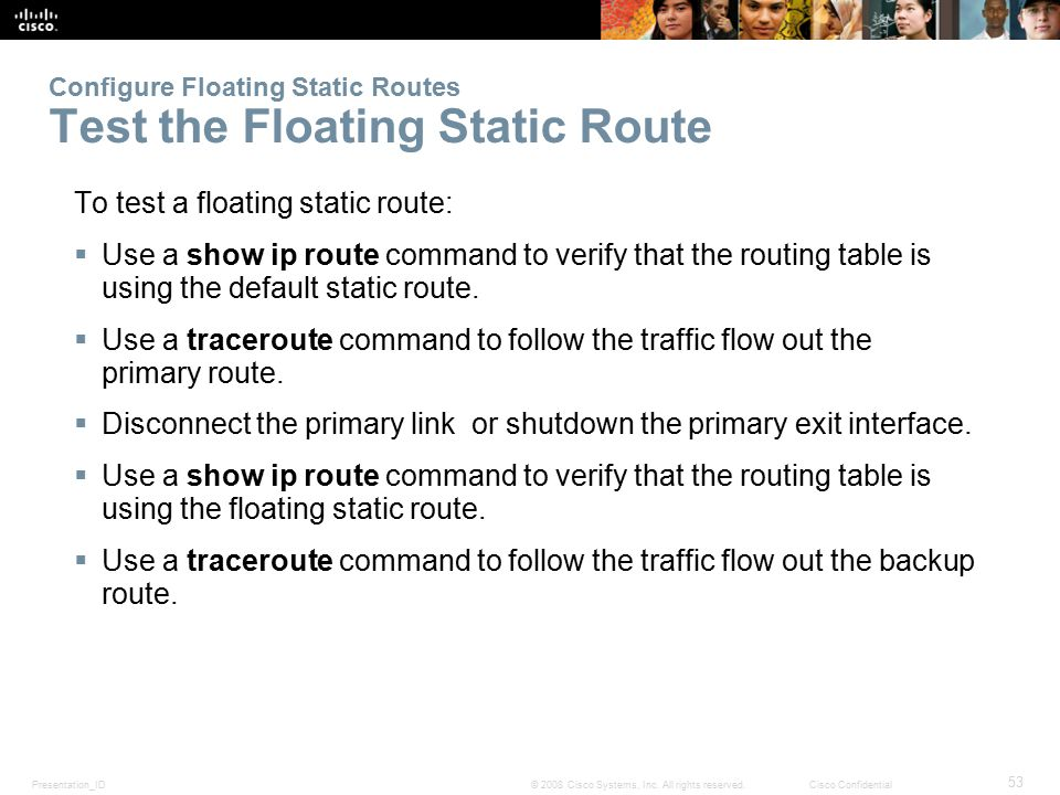 Configure Floating Static Routes Test the Floating Static Route