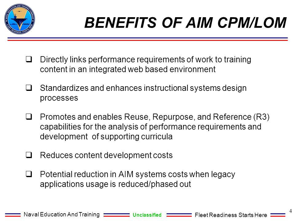BENEFITS OF AIM CPM/LOM