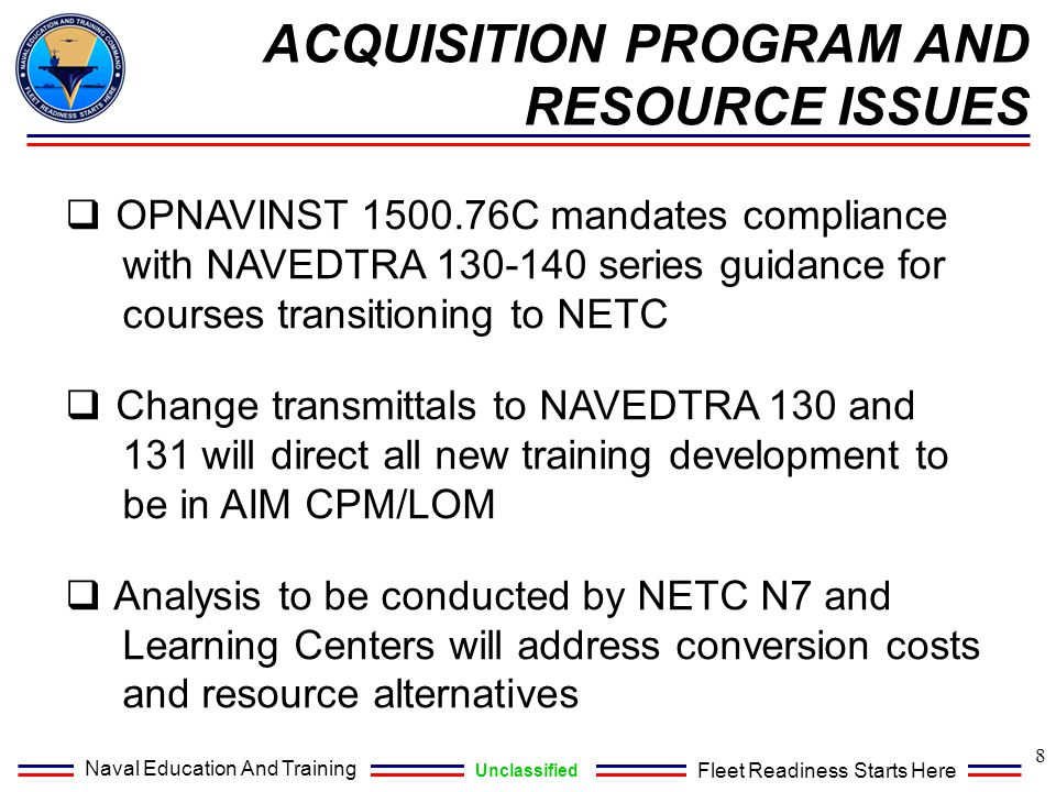 ACQUISITION PROGRAM AND RESOURCE ISSUES