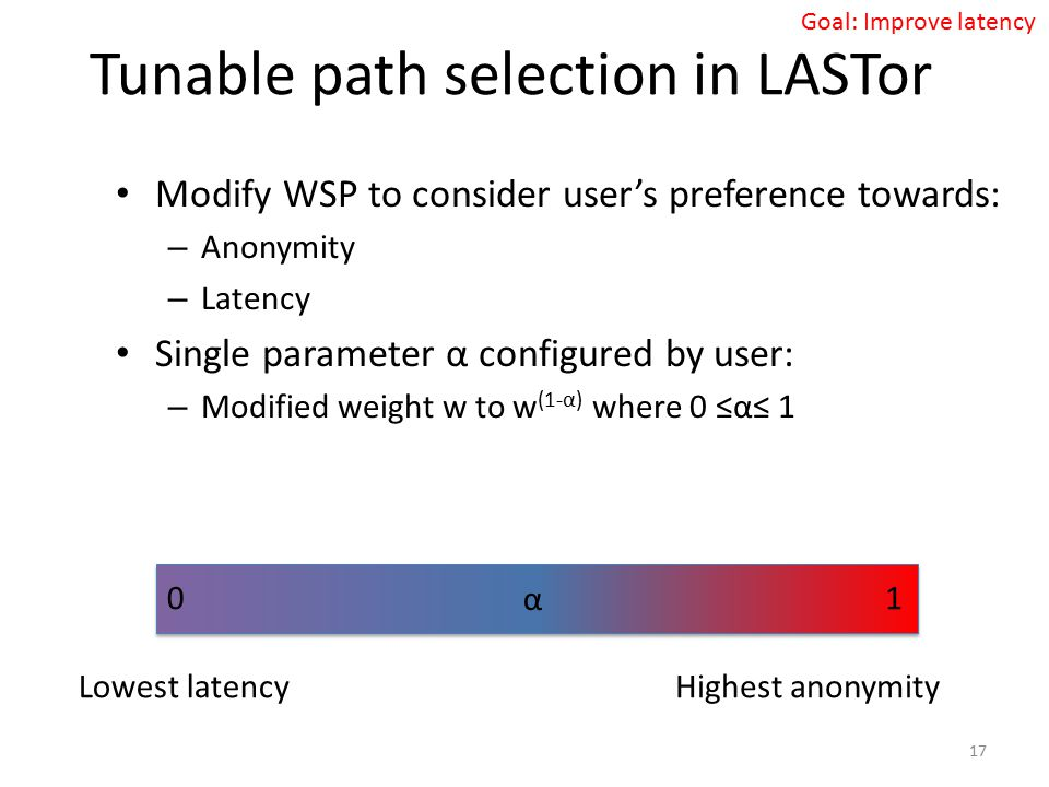 Tunable path selection in LASTor