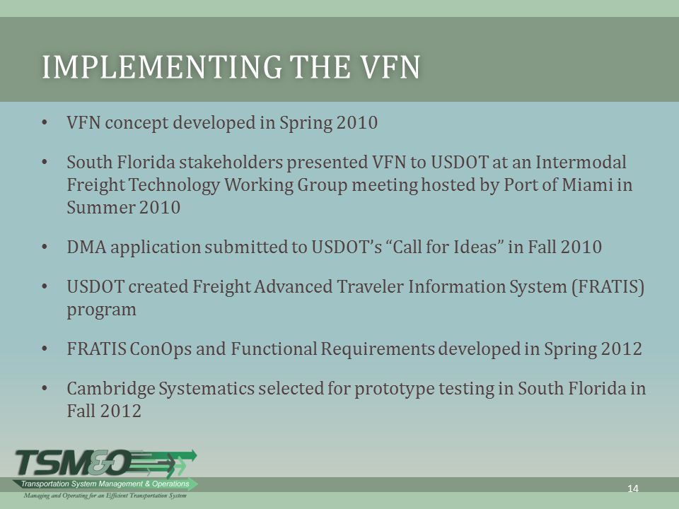 Implementing the VFN VFN concept developed in Spring 2010