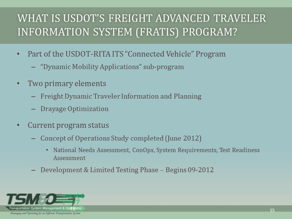 What is USDOT's Freight Advanced Traveler Information System (FRATIS) Program