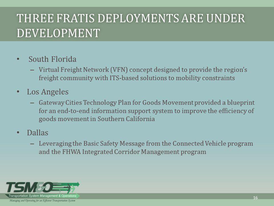 Three FRATIS Deployments Are under Development