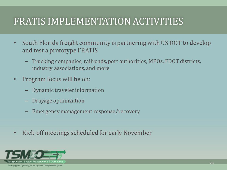 FRATIS Implementation Activities