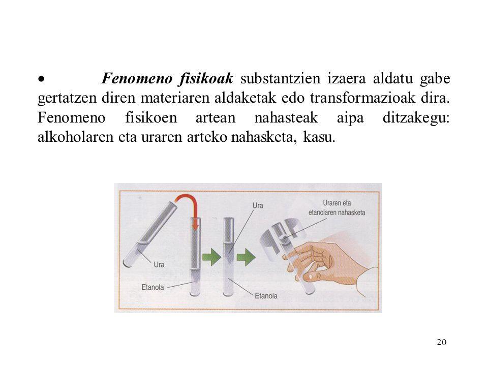 · Fenomeno fisikoak substantzien izaera aldatu gabe gertatzen diren materiaren aldaketak edo transformazioak dira.