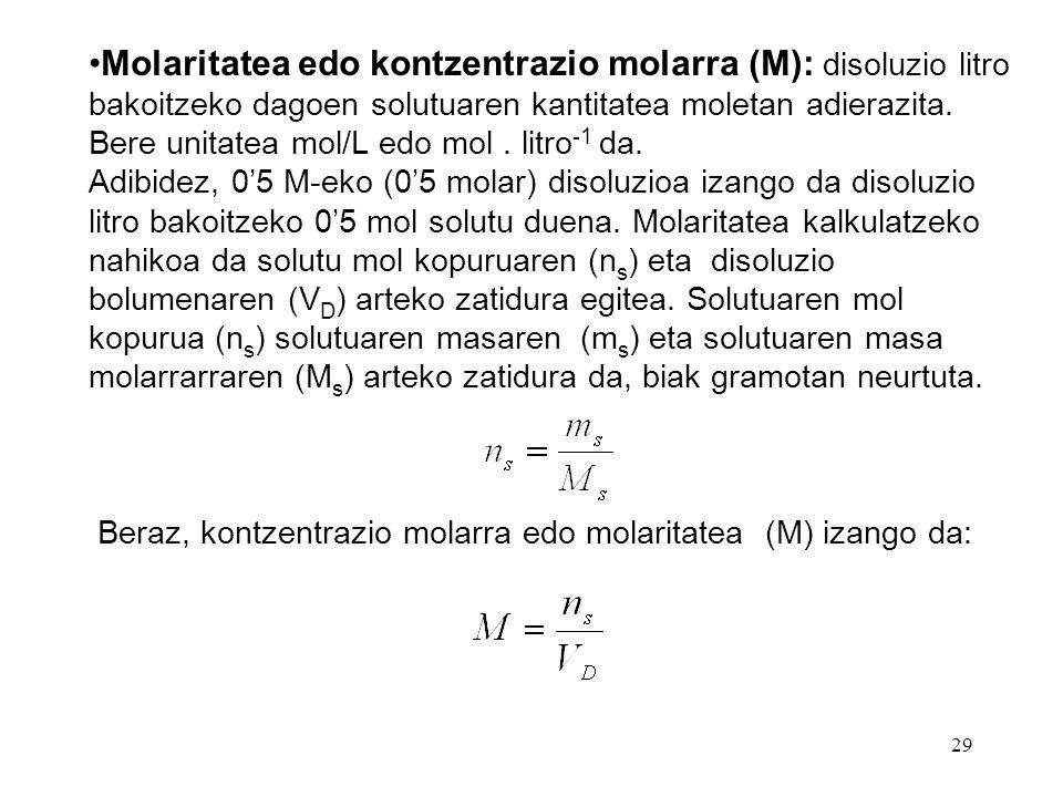Molaritatea edo kontzentrazio molarra (M): disoluzio litro bakoitzeko dagoen solutuaren kantitatea moletan adierazita. Bere unitatea mol/L edo mol . litro-1 da.