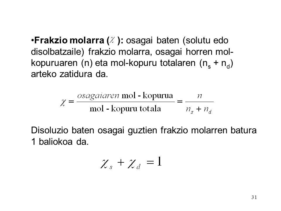 Frakzio molarra ( ): osagai baten (solutu edo disolbatzaile) frakzio molarra, osagai horren mol-kopuruaren (n) eta mol-kopuru totalaren (ns + nd) arteko zatidura da.
