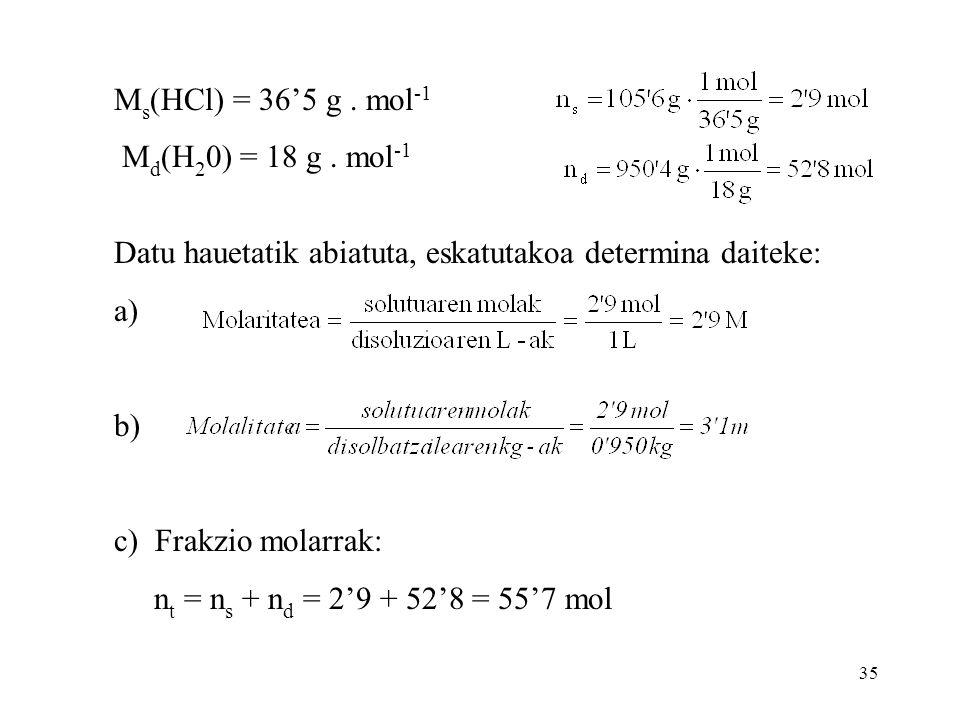 Ms(HCl) = 36'5 g . mol-1 Md(H20) = 18 g . mol-1. Datu hauetatik abiatuta, eskatutakoa determina daiteke: