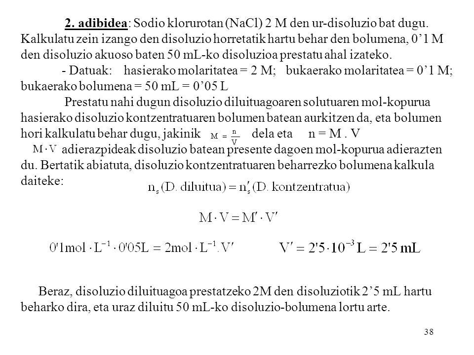 2. adibidea: Sodio klorurotan (NaCl) 2 M den ur-disoluzio bat dugu