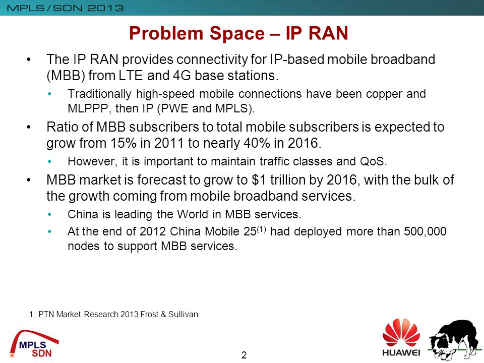Problem Space – IP RAN The IP RAN provides connectivity for IP-based mobile broadband (MBB) from LTE and 4G base stations.