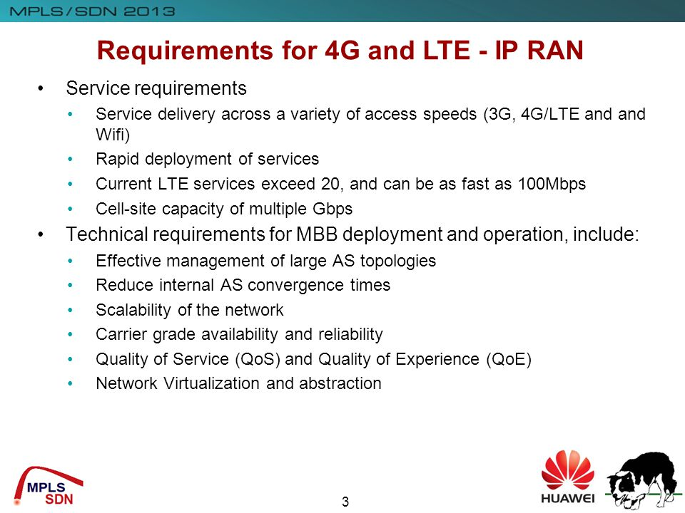 Requirements for 4G and LTE - IP RAN