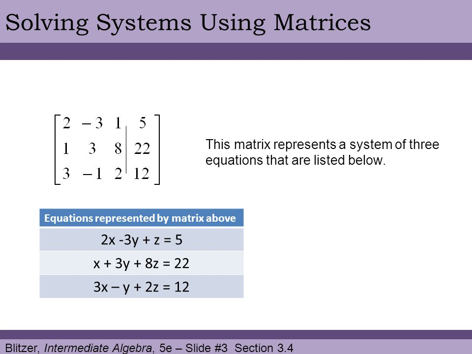 Solving Systems Using Matrices