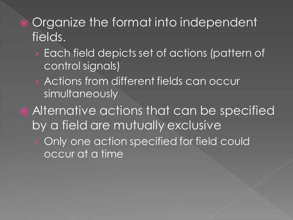 Organize the format into independent fields.