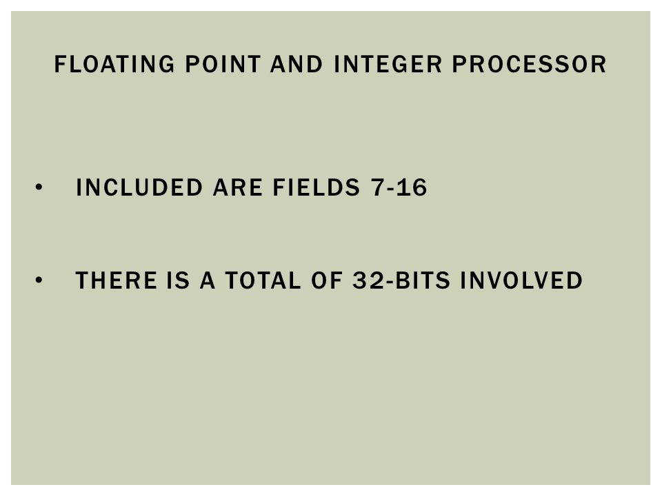 Floating Point and integer processor