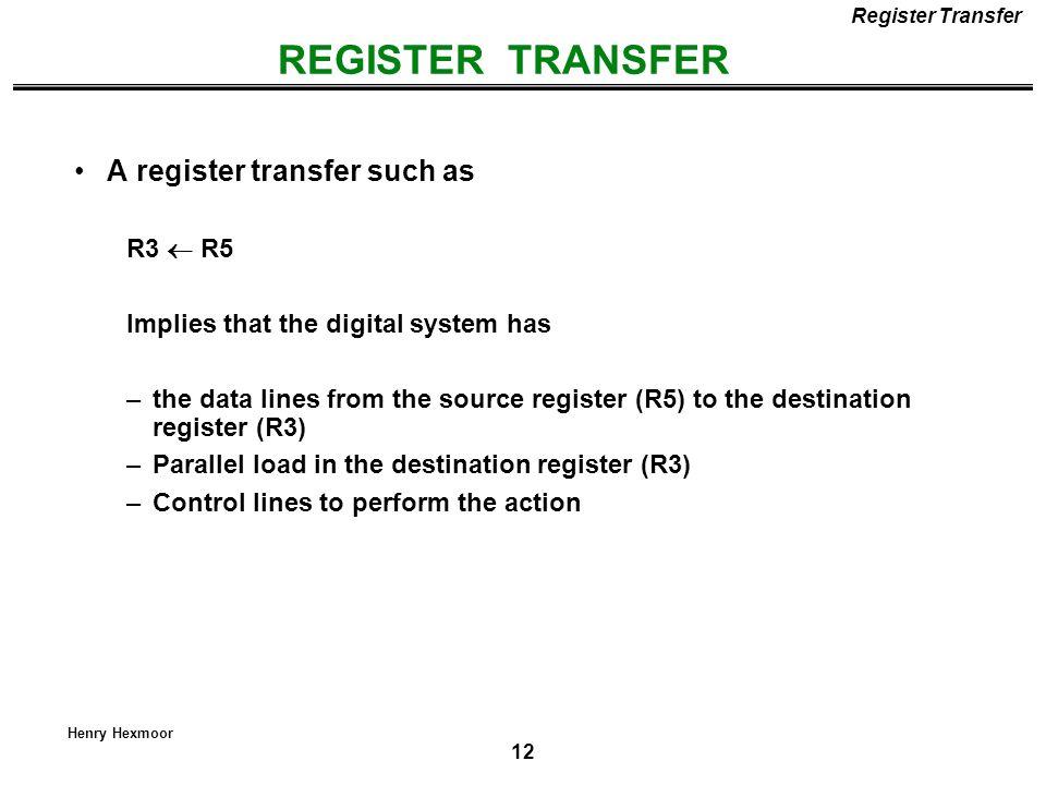 REGISTER TRANSFER A register transfer such as R3  R5
