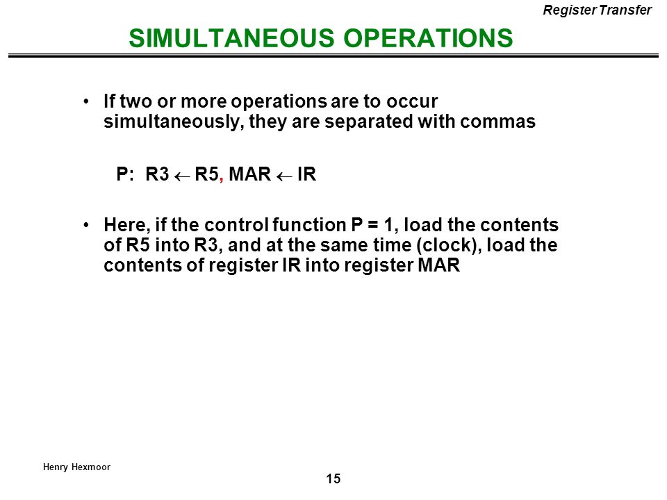 SIMULTANEOUS OPERATIONS