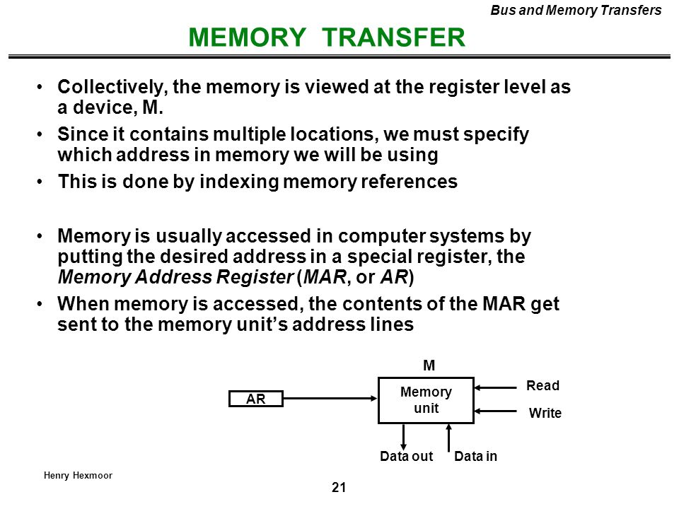 Bus and Memory Transfers