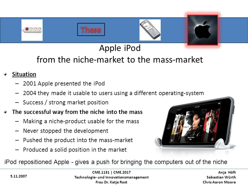 Apple iPod from the niche-market to the mass-market
