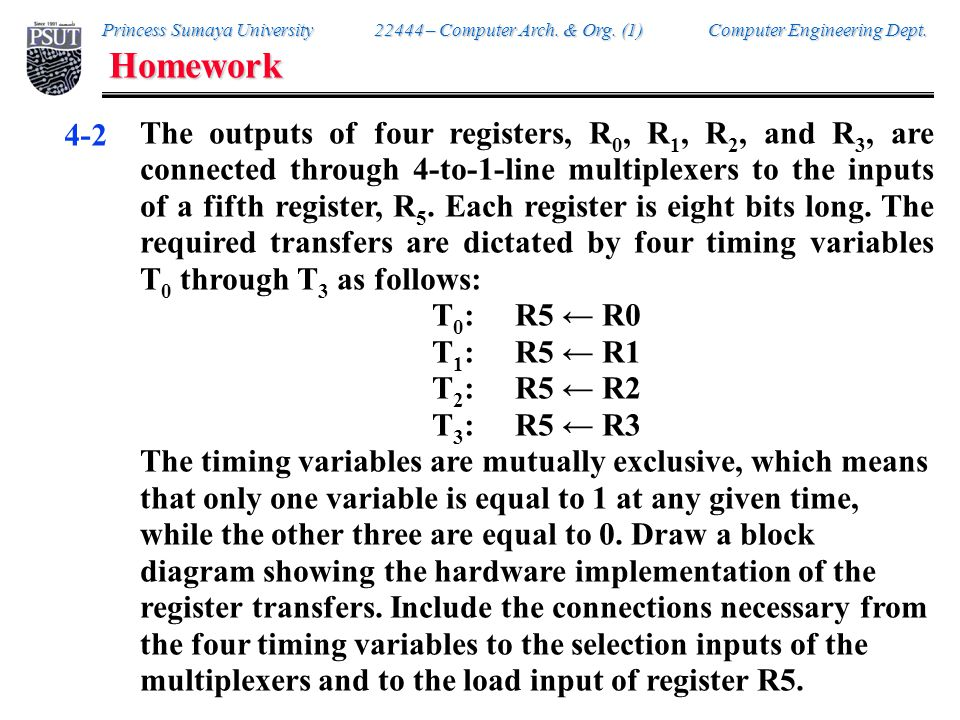 Homework 4-3. Represent the following conditional control statement by two register transfer statements with control functions.