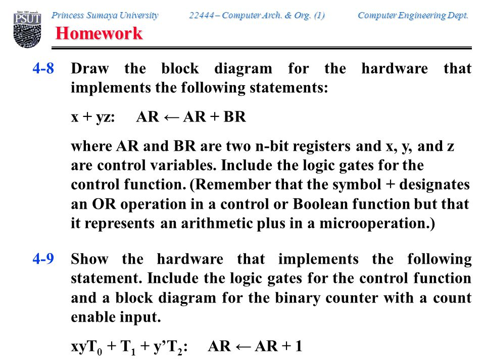 Homework 4-10. Consider the following register transfer statements for two 4-bit registers R1 and R2.