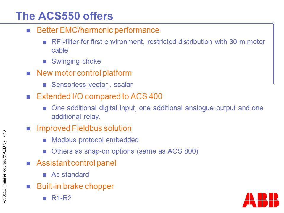 The ACS550 offers Better EMC/harmonic performance