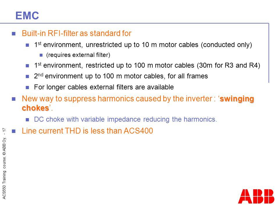 EMC Built-in RFI-filter as standard for