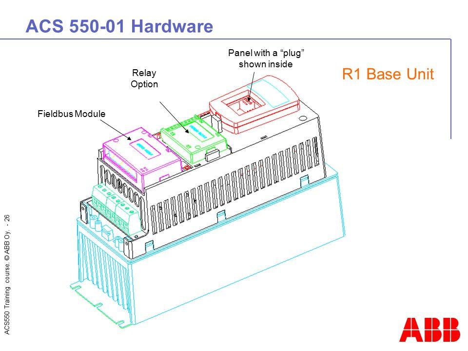 ACS 550-01 Hardware R1 Base Unit Panel with a plug shown inside