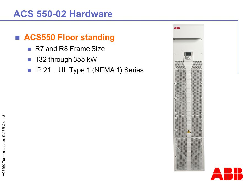 ACS 550-02 Hardware ACS550 Floor standing R7 and R8 Frame Size