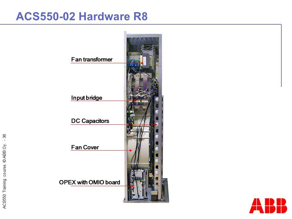 ACS550-02 Hardware R8 Fan transformer Input bridge DC Capacitors