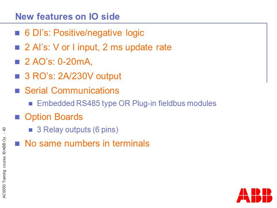 6 DI's: Positive/negative logic 2 AI's: V or I input, 2 ms update rate