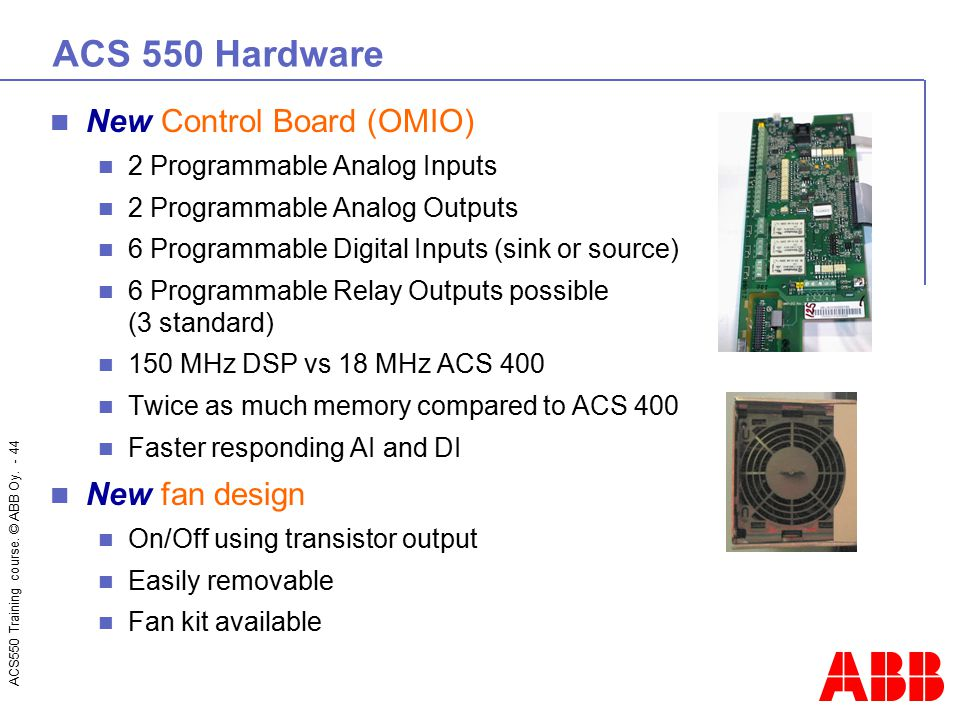 ACS 550 Hardware New Control Board (OMIO) New fan design
