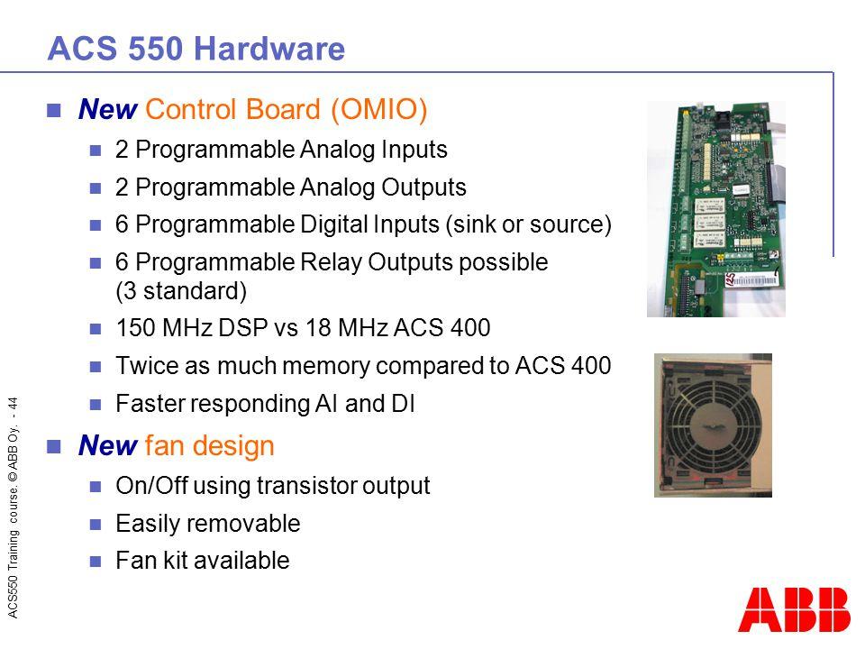ACS 550 Hardware New Control Board (OMIO) New fan design