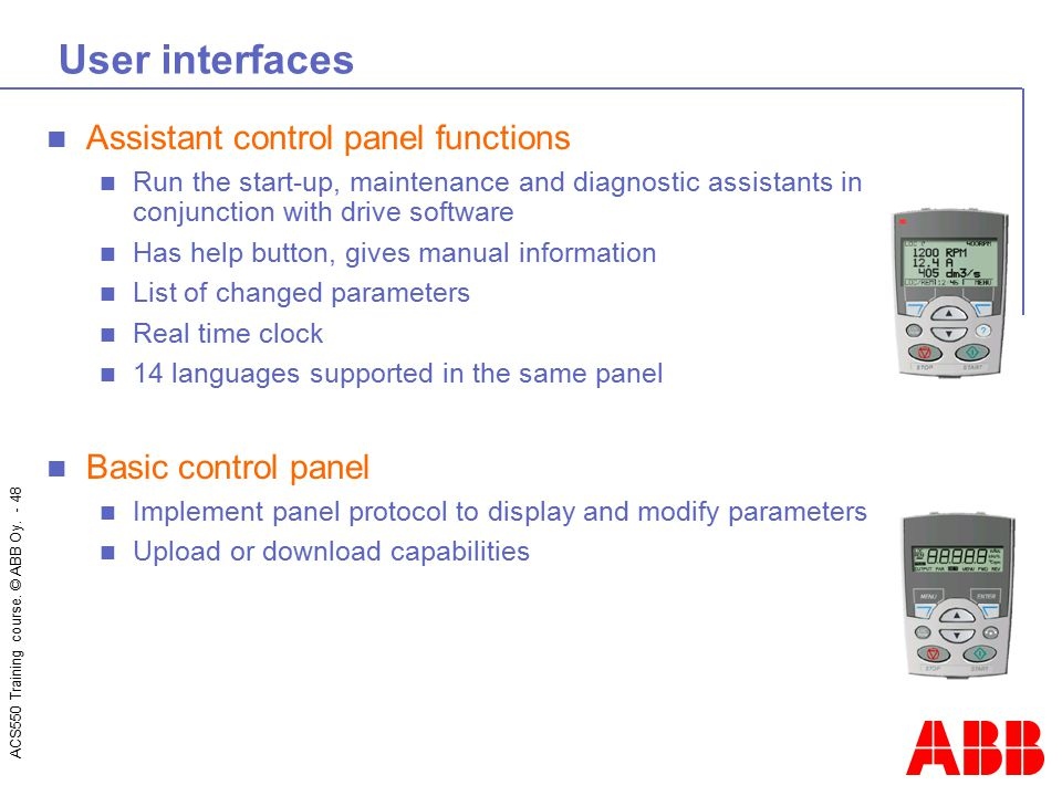User interfaces Assistant control panel functions Basic control panel