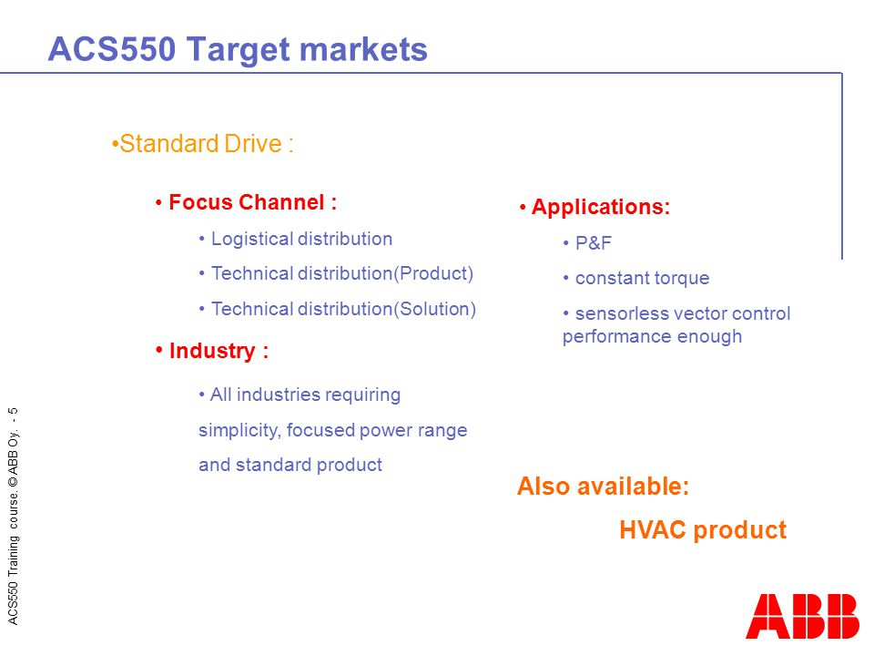ACS550 Target markets Standard Drive : Industry : Also available: