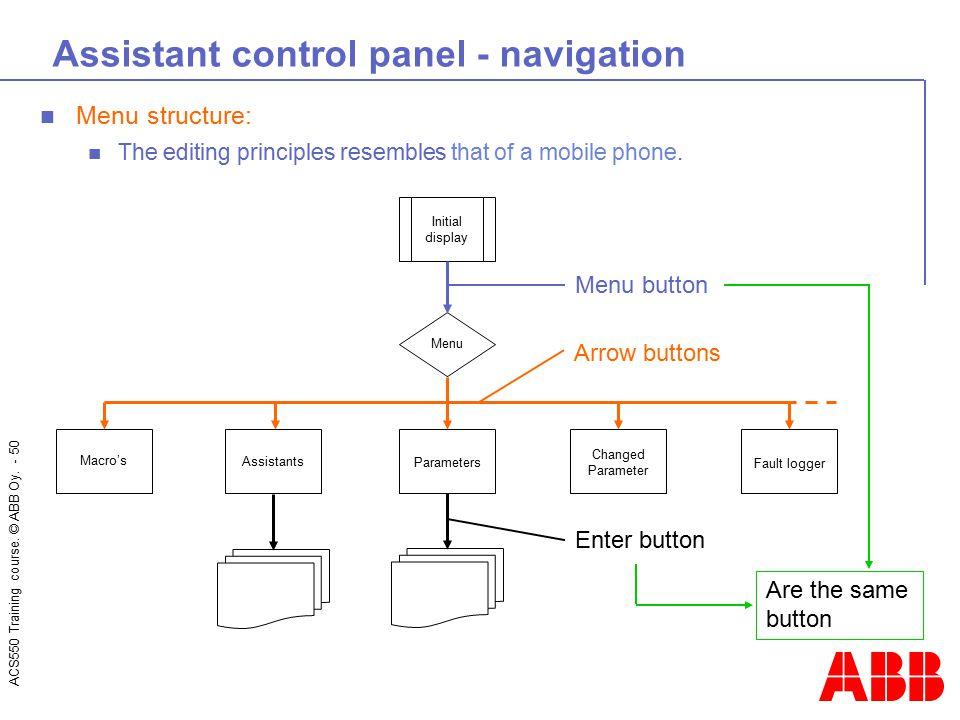 Assistant control panel - navigation
