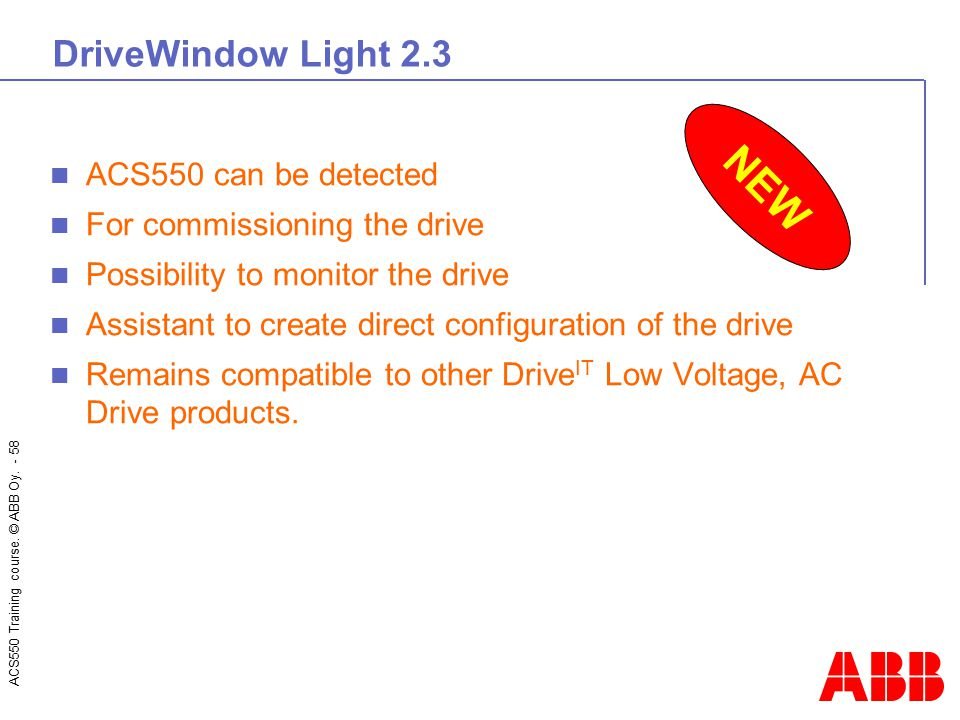 NEW DriveWindow Light 2.3 ACS550 can be detected