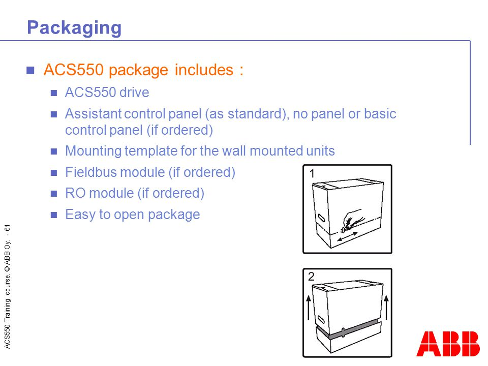 Packaging ACS550 package includes : ACS550 drive