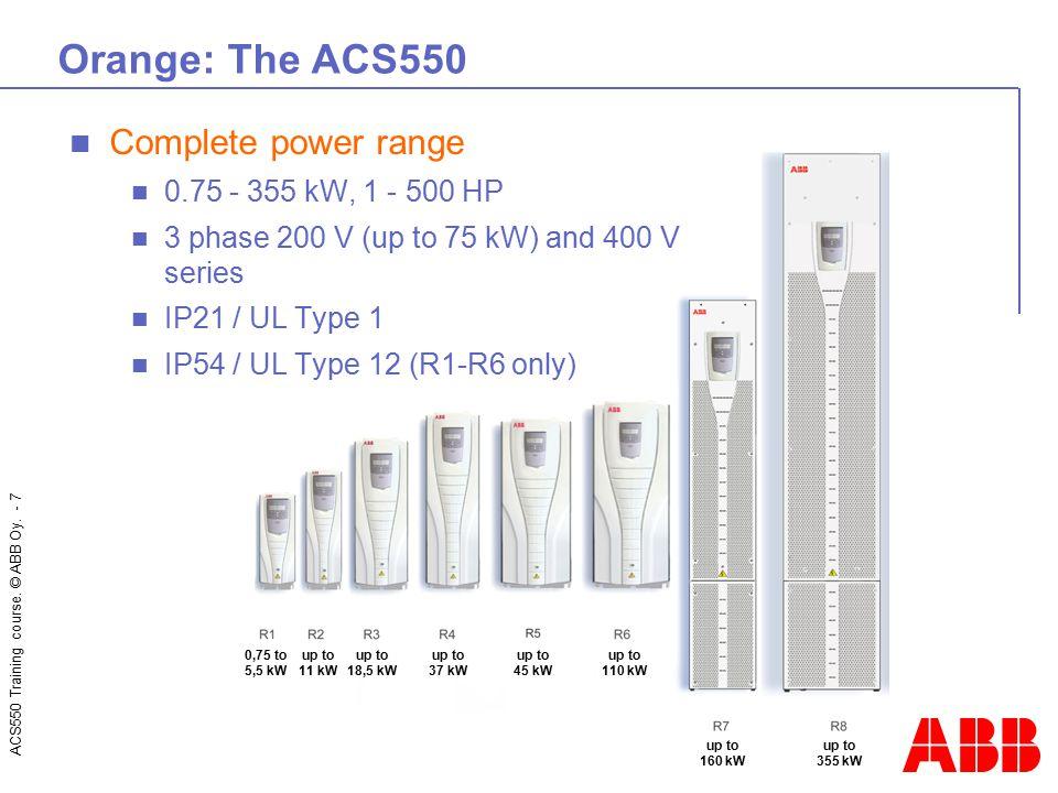 Orange: The ACS550 Complete power range 0.75 - 355 kW, 1 - 500 HP