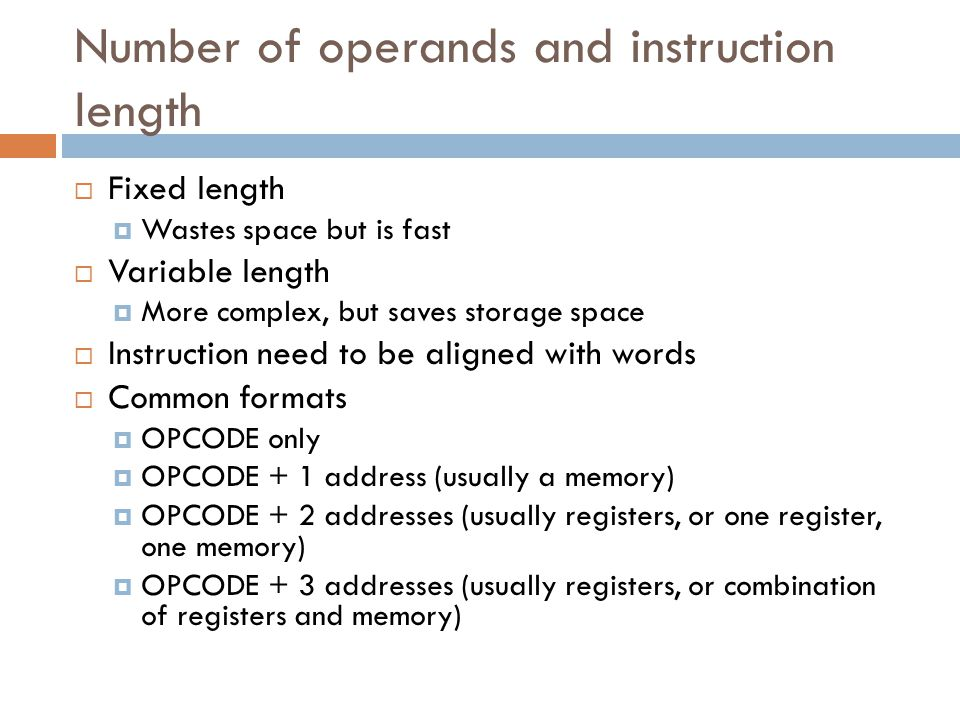 Number of operands and instruction length