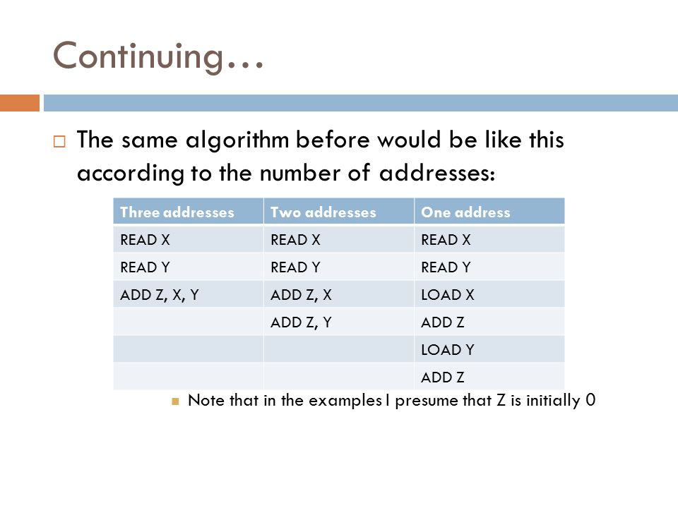Continuing… The same algorithm before would be like this according to the number of addresses: